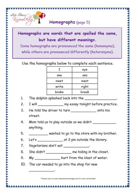 grade 3 grammar topic 25 homographs worksheets lets