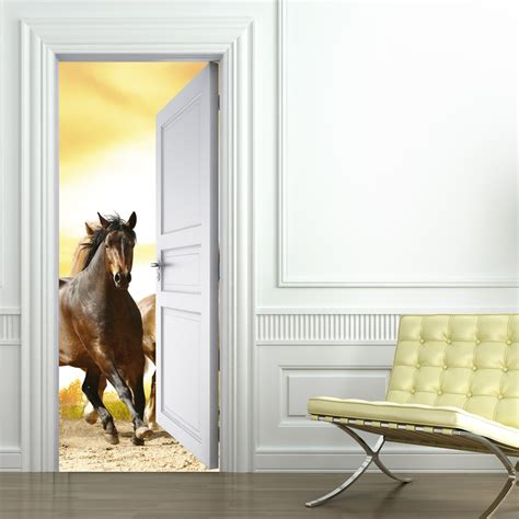 stickers chevaux pour chambre stickers porte cheval pas cher