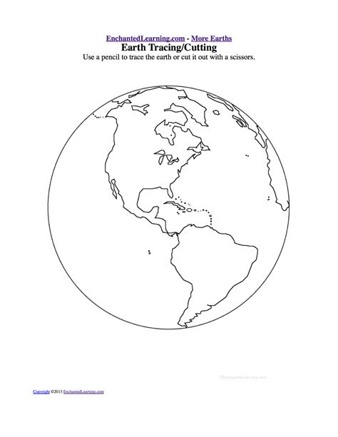earth template tracing cutting templates enchantedlearning