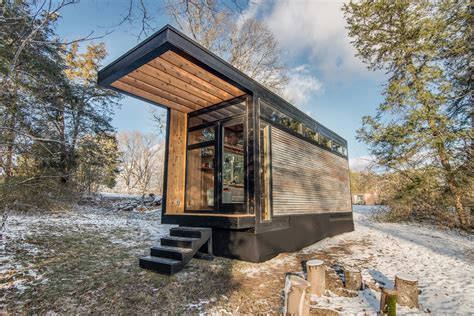 writer s modern retro tiny house in the woods