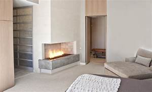 Corner Gas Fireplace for Contemporary Bedroom with Oak