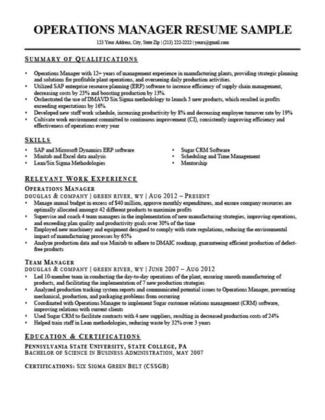 Operating Resume by Operations Manager Resume Sle Writing Tips Rc