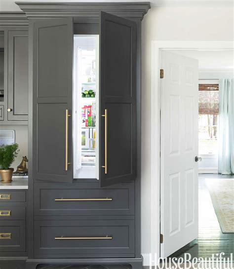 gray refrigerator transitional kitchen benjamin