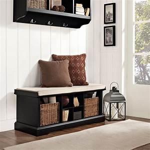 crosley, brennan, entryway, storage, bench, -, black