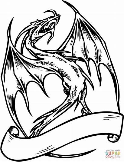 Dragon Coloring Pages Banner Flying Template Dragons