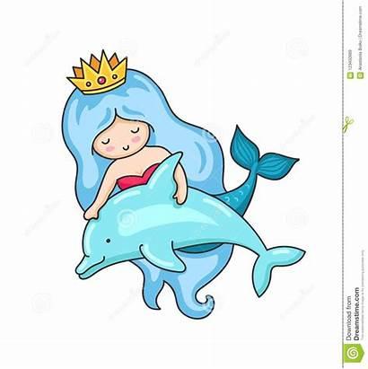 Dolphin Mermaid Rosy Cheeks Wavy Woman Clip