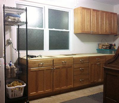 reuse  kitchen cabinets  garage  create  workbench