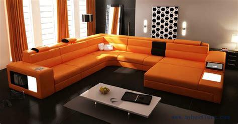 hot sale modern orange sofa set large size  shaped villa