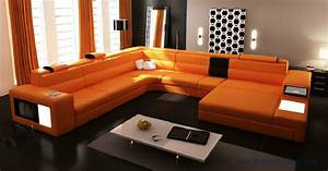 Big Size Sofa : hot sale modern orange sofa set large size u shaped villa ~ A.2002-acura-tl-radio.info Haus und Dekorationen