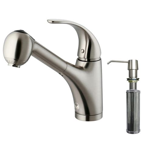 Faucets With Soap Dispenser by Vigo Single Handle Pull Out Sprayer Kitchen Faucet With