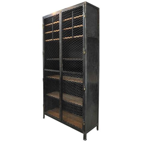 industrial storage cabinets with doors large industrial mesh doors bookcase iron cabinet 1930s