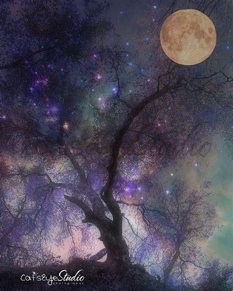 surreal twilight art print full moon purple sky enchanted