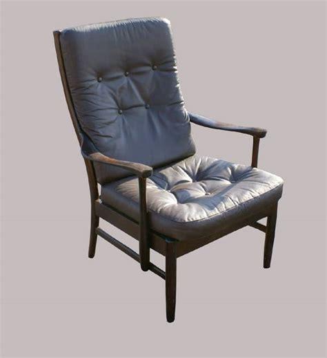 vintage brown leather wood lounge chair ebay