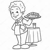 Waiter Cameriere Giovane Vettoriale Depositphotos Cibo Foxynguyen Vettoriali sketch template