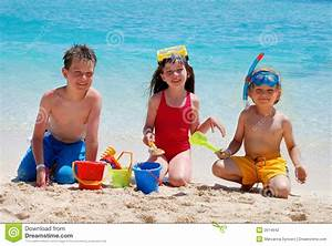 Children Playing On A Beach Stock Photo - Image of ...