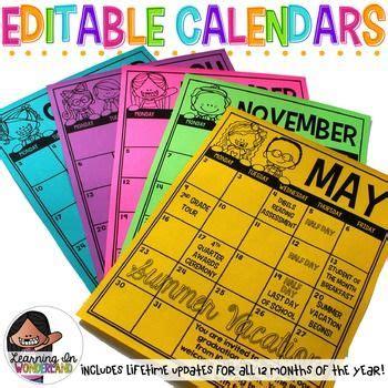editable calendar lifetime updates englishspanish
