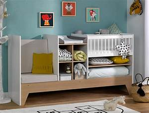 Lit Bébé Bois Et Blanc : lit b b combin volutif blanc et bois avec rangement transformable en lit enfant ~ Teatrodelosmanantiales.com Idées de Décoration