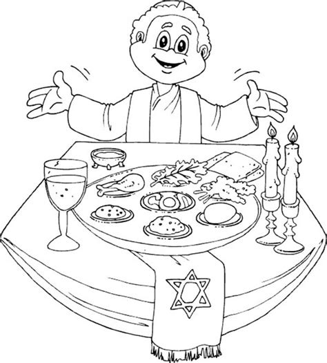 Kleurplaat Pesach Maaltijd by A Happy Passover Dinner Coloring Page
