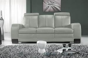 Canapé Cuir Gris Clair : canap 3 places en cuir italien rosso gris clair mobilier priv ~ Teatrodelosmanantiales.com Idées de Décoration