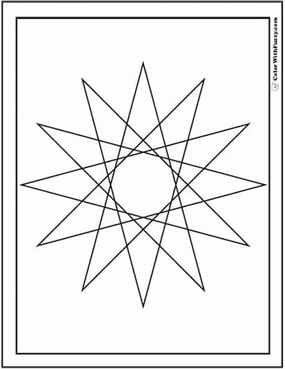 Geometric Coloring Pages Star Printable Designs Point