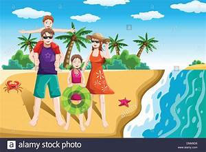 A vector illustration of a happy family going to the beach ...