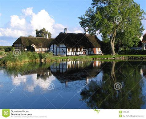 house   pond  danmark stock image image