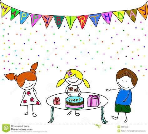 kids party stock vector illustration  birthday friends