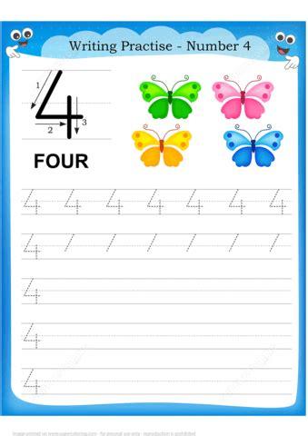 number  handwriting practice worksheet  printable