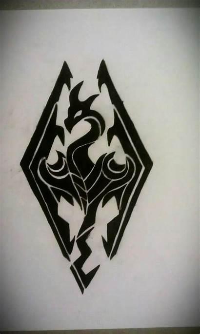 Skyrim Tattoo Tribal Outline Symbol Tattoos Dragon