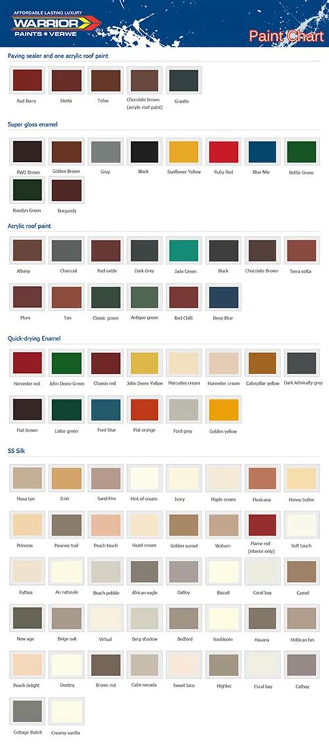 colour chart paint affordable and luxury paints