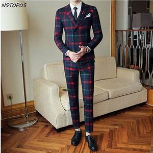 red plaid suit for men jacket vestpant 2017 new party With costume homme carreaux