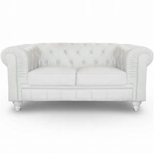 canape 2 places chesterfield blanc pas cher british deco With canapé 2 places style anglais