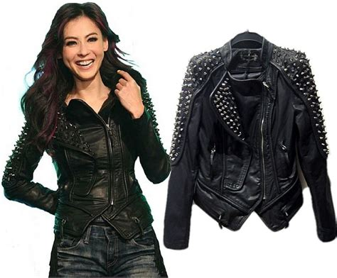 Womens Faux Leather Punk Spike Rivets Biker Jacket