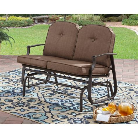 outdoor patio glider 2 seat bench steel porch loveseat