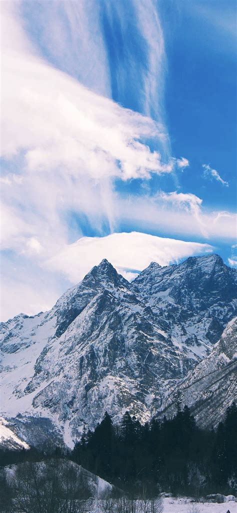 snowy mountain landscape clouds wallpapersc iphonex
