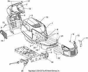 Mtd 13wn77ss031  Lt4200   2017  Parts Diagram For Hood  U0026 Grill