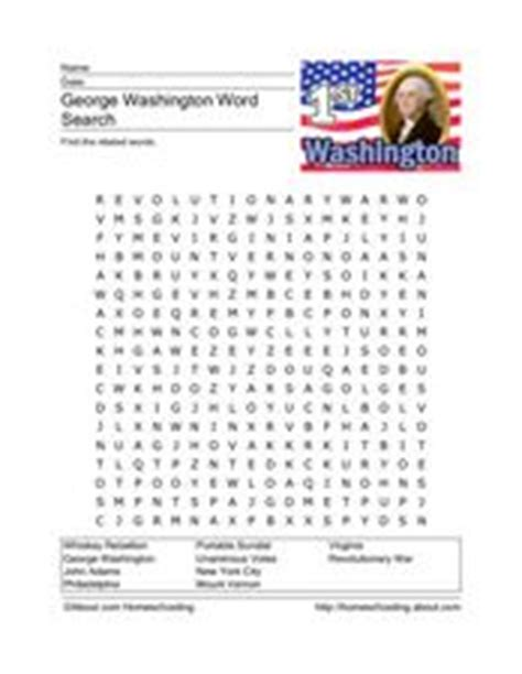 George Washington Word Search 3rd  4th Grade Worksheet