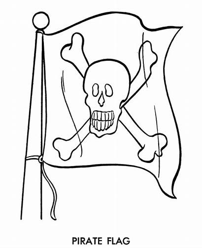 Coloring Cartoon Pirate Pages Pirates Flag Skull