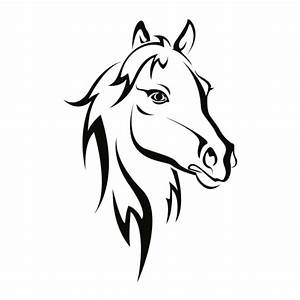 Pferdekopf Schwarz Weiß : wandtattoo pferdekopf wandtattoo tierwelt ~ Watch28wear.com Haus und Dekorationen