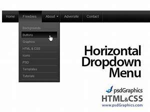 Black horizontal html and css dropdown menu notes n for Drop down menu html template