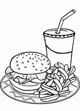 Coloring Hamburger Fries French Junk Pizza Burger Milkshake Menu Sheet Sheets Fry Kleurplaten Kleurplaat Colouring Printable Coloriage Drink Shake Clip sketch template