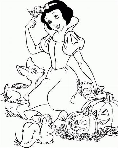 Coloring Princess Snow Disney Pages Halloween Printable