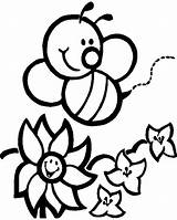 Coloring Bee Garden Flower Honey Pages Arrived sketch template
