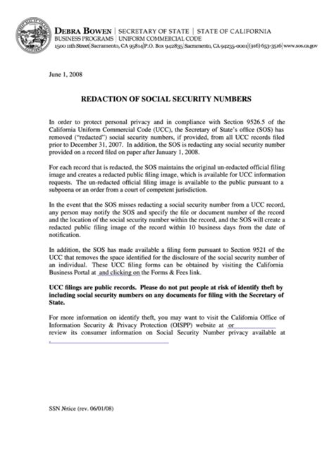 fillable ucc forms fillable form ucc1 redaction of social security numbers