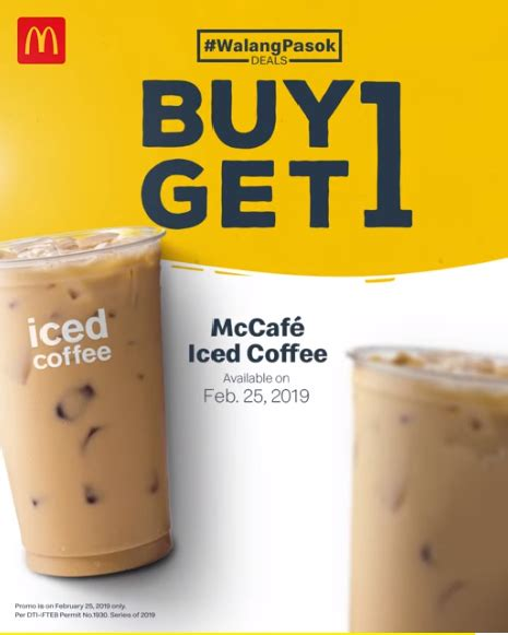 Mcdonald's menu, burgers & sandwiches, chicken & fish, breakfast, salads, snacks & sides, beverages, mccafé, desserts & shakes and more! McDonald's Walang Pasok Deal - BUY 1 TAKE 1 Iced Coffee - Feb 25 ONLY- Proud Kuripot   Beverage ...