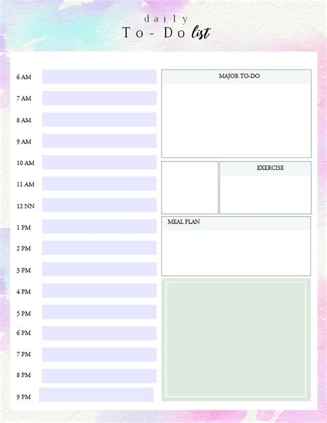 Timed To Do List Template printable daily to do list template to get things done
