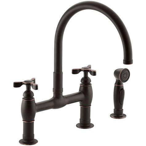 3 kitchen faucet kohler parq 2 handle bridge kitchen faucet with side