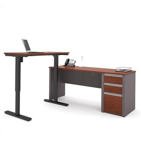bestar connexion l shaped desk bestar connexion power adjustble l shaped table in