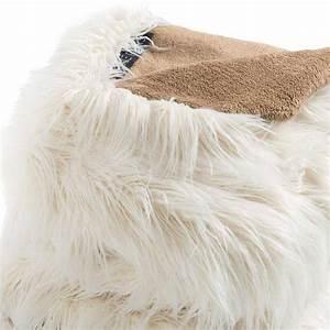 Plaid Fourrure Blanc : plaid de luxe blanc en fausse fourrure par ligne pure ~ Nature-et-papiers.com Idées de Décoration