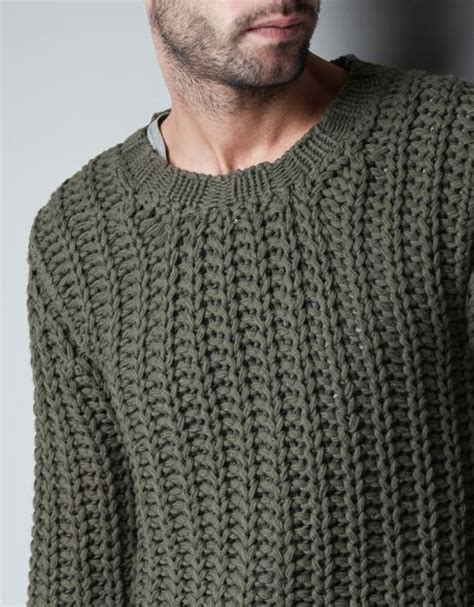 mens chunky knit sweater zara chunky knit sweater in khaki for lyst